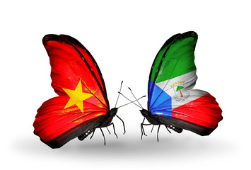 Two butterflies with flags Vietnam and Equatorial Guinea