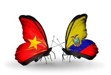 Two butterflies with flags Vietnam and Ecuador