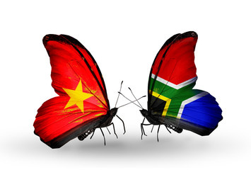 Two butterflies with flags Vietnam and South Africa