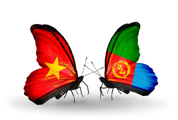 Two butterflies with flags Vietnam and Eritrea