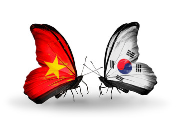 Two butterflies with flags Vietnam and South Korea
