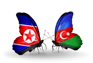 Two butterflies with flags North Korea and Azerbaijan