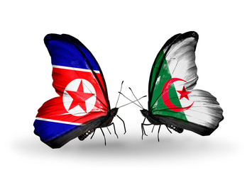 Two butterflies with flags North Korea and Algeria