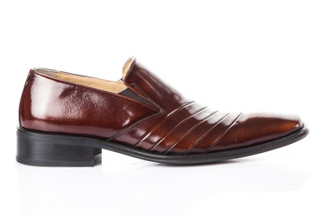 brown shoes pair. male shoes on white