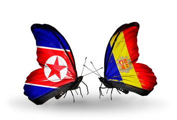 Two butterflies with flags North Korea and Andorra