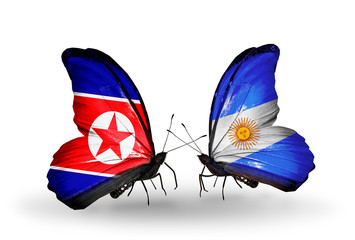 Two butterflies with flags North Korea and Argentina