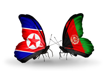 Two butterflies with flags North Korea and Afghanistan