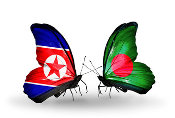 Two butterflies with flags North Korea and Bangladesh