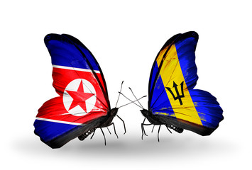 Two butterflies with flags North Korea and Barbados