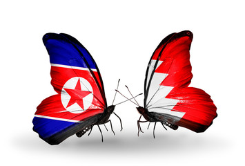 Two butterflies with flags North Korea and Bahrain