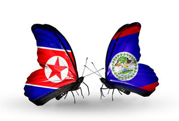 Two butterflies with flags North Korea and Belize