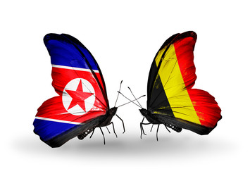 Two butterflies with flags North Korea and Belgium