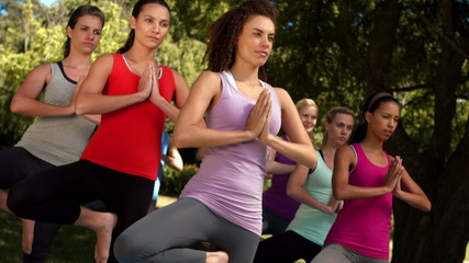 In high quality format fitness group doing yoga in park