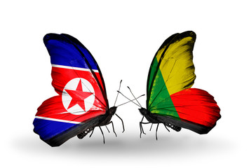 Two butterflies with flags North Korea and Benin