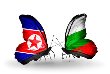 Two butterflies with flags North Korea and Bulgaria