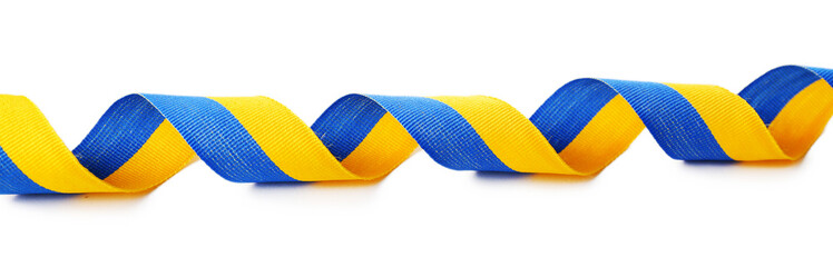 Colorful blue-yellow fabric ribbon  isolated on white