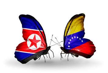 Two butterflies with flags North Korea and Venezuela