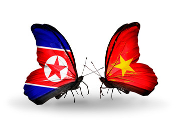 Two butterflies with flags North Korea and  Vietnam