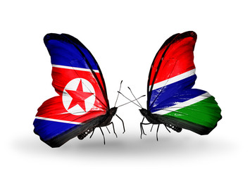 Two butterflies with flags North Korea and Gambia