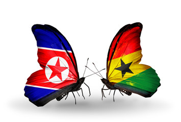 Two butterflies with flags North Korea and Ghana