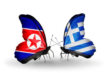 Two butterflies with flags North Korea and Greece