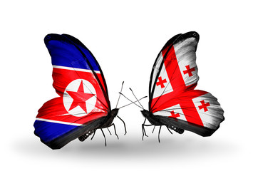 Two butterflies with flags North Korea and Georgia