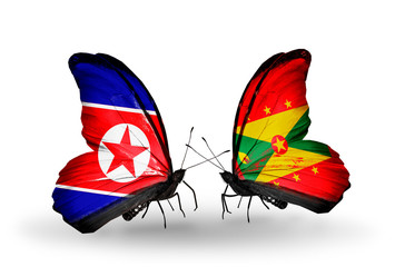 Two butterflies with flags North Korea and Grenada