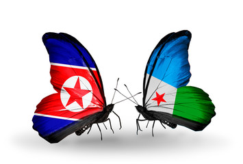 Two butterflies with flags North Korea and Djibouti
