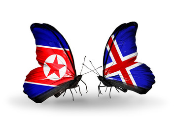 Two butterflies with flags North Korea and   Iceland