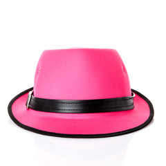 pink hat on white background