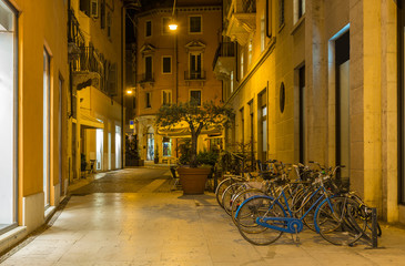 Old street in centre of Verona at night, Italy
