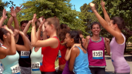 In high quality format fit people at race in park