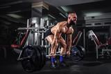 Fototapety Muscular Man Doing Heavy Deadlift Exercise