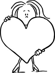 woman hold big heart - black line vector illustration