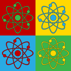Pop art atom symbol icons.