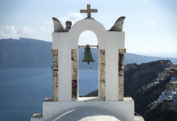 Santorini church bell with sea view