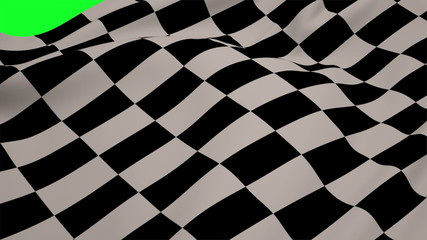 Checkered flag blowing on green screen