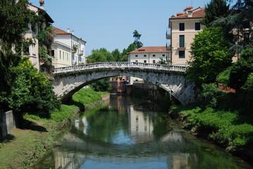 San Michele bridge on Retrone river in Vicenza, Italy