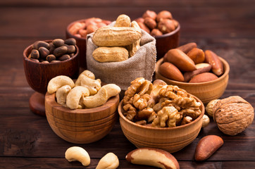 Bowls of various nuts