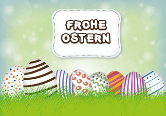 Happy Easter - Easter Eggs - grass - meadow