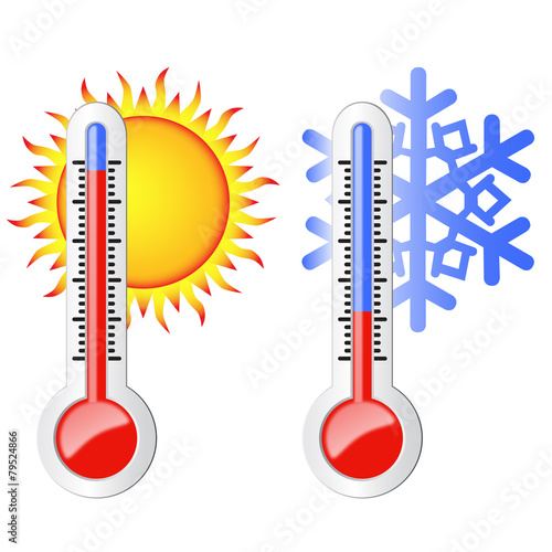 Two thermometers, the sun and snowflake. - 79524866