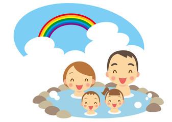 夏 温泉を楽しむ家族