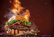 Delicious burger with fire flames - 79525206