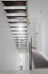 house hall stairs and glass balustrade