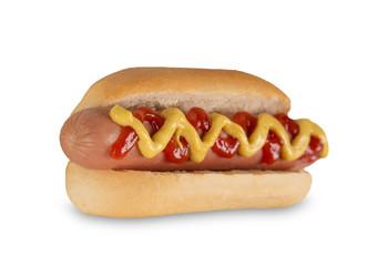 Hot dog with mustard and ketchup.