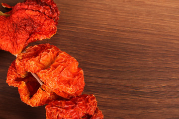 Dried red peppers on the wood