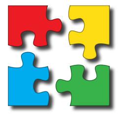Logo puzzle colorato staccato