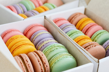 Set of colorful macaroon in the boxes