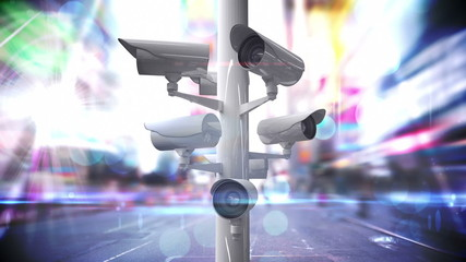 CCTV cameras over a busy road