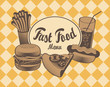 Vector Cover for fast food menu in retro style